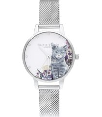 olivia burton women's ilustrated animals stainless steel mesh bracelet watch 30mm