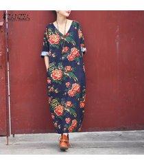 zanzea mujeres impresión floral del cuello en v de algodón de lino floja ocasional vestido maxi largo plus -azul