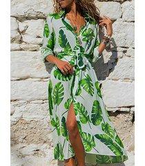 vestido de manga larga con cuello en v y dobladillo con hendidura tropical con cinturón