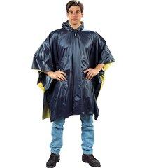 mens navy blue yellow reversible 3/4 pvc camping hunting rain coat poncho hood