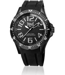 relógio everlast esporte e670 48mm silicone masculino