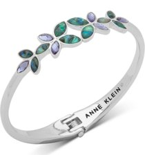 anne klein silver-tone stone flower hinged bangle bracelet