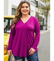 yoins plus blusa de manga larga con cuello en v púrpura