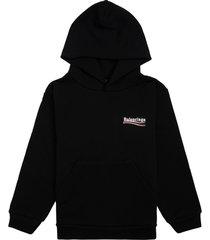 balenciaga black jersey hoodie with logo print