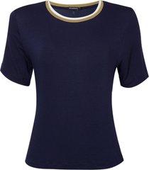 blusa le lis blanc bianca i malha azul feminina (azul escuro- dark blue, gg)