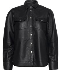 gitte leather shirt långärmad skjorta svart second female