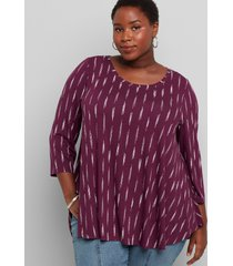 lane bryant women's 3/4-sleeve high-low swing tunic 10/12 brushed stripe