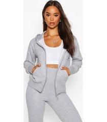 basic soft mix & match zip through hoodie, grey marl
