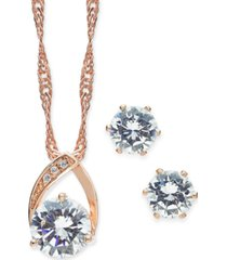 charter club crystal pendant necklace and earrings set in 18k rose gold plate, created for macy's