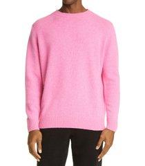 men's the elder statesman cashmere crewneck sweater, size medium - pink