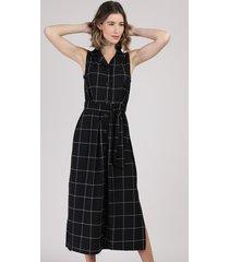 vestido chemise feminino midi estampado quadriculado com faixa para amarrar sem manga preto