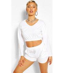 v neck crop sweater and short set, white