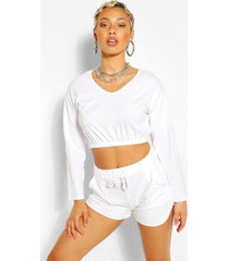 korte sweater met v-hals en shorts set, wit