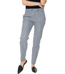 pantalón blanco-negro-azul mng