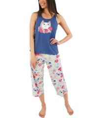 munki munki flower kitty capri pajama set