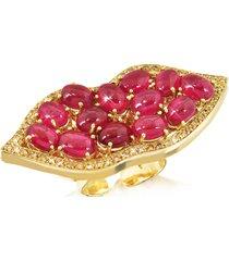 bernard delettrez designer rings, big mouth w/cabochon rubies gold ring
