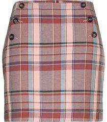 cotton blend check mini skirt kort kjol rosa tommy hilfiger