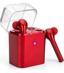 audífonos bluetooth inalámbricos, fun7 auriculares estéreo inalámbricos audifonos bluetooth manos libres  con soporte de caja de carga handfree (rojo)