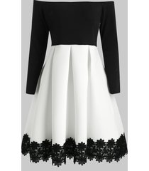 bare shoulder long sleeve cocktail dress