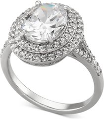 arabella cubic zirconia double halo oval ring in sterling silver