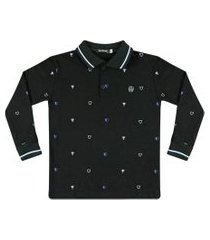 camiseta polo piquet estampada ser garoto preta
