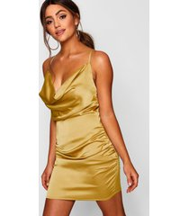 florence satin cowl neck bodycon dress, mustard