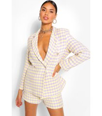 dogtooth gold button double breast blazer, lilac