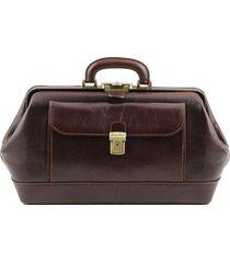 tuscany leather tl141298 bernini - esclusiva borsa medico in pelle testa di moro