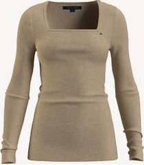 tommy hilfiger essential solid square-neck sweater curds whey heather - xxl