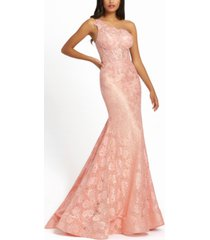 mac duggal embellished one-shoulder fit & flare lace gown