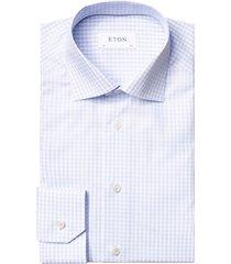 men's big & tall eton contemporary fit check dress shirt, size 18.5 - blue
