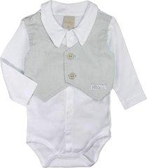 body camisa de bebê com coletinho branco e cinza cute