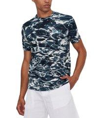 ax armani exchange men's textured water logo graphic t-shirt