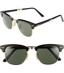 ray-ban 'clubmaster' 51mm folding sunglasses in black at nordstrom