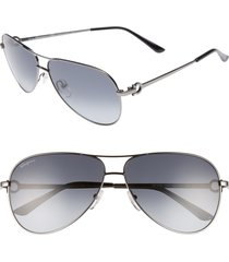 men's salvatore ferragamo gancio 62mm aviator sunglasses - shiny dark gunmetal