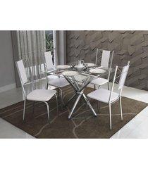 conjunto mesa volga com 4 cadeiras lisboa branco e cromado kappesberg crome