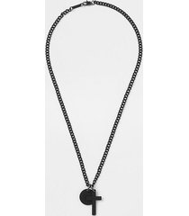river island mens black disc and cross necklace