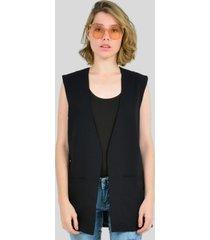 chaleco decorado con bolsillos de mujer aishop aw163-1108-012 negro