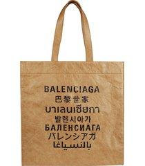 balenciaga multi-language logo print shopper bag