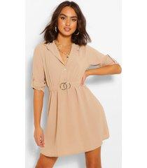 blouse jurk met ceintuur, steenrood