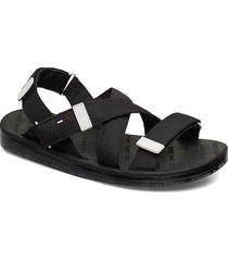 tommy surplus flat sandal shoes summer shoes flat sandals svart tommy hilfiger