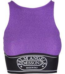 palm angels woman capsule crop top in purple lurex