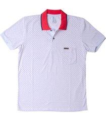 camiseta tipo polo coral puntazul con bolsilo
