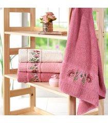 kit 4 toalhas de rosto encanto marsala - bene casa