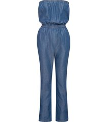 jeansjumpsuit i bandåmodell