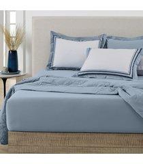 jogo de cama 180 fios 3 peã§as queen tavares  - karsten - azul/branco - dafiti