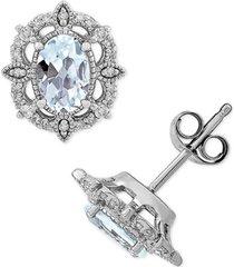 aquamarine (3/4 ct. t.w.) & diamond (1/8 ct. t.w.) stud earrings in 14k white gold