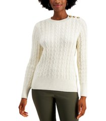 charter club petite cable-knit pullover sweater, created for macy's
