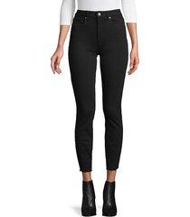 paige jeans women's hoxton raw-hem skinny ankle jeans - black overdye - size 25 (2)