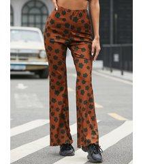 yoins marrón estampado floral acampanado pantalones